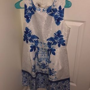 White / blue designed dress